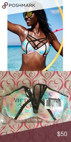 PINK Strappy Front T-Back Bikini Top ✨Size: MEDIUM A-C ✨Color: Bright Watercolor / Pastel  Color (and tan) outside the lines in this caged-front top with extra oomph built in—swimwear by Victoria's Secret PINK.   Push & Lining  -Built-in padding -Light push up -Underwire   Straps & Hooks -Crisscross front straps -Adjustable back hook closure -Adjustable halter straps   Details & Fabric -Imported polyamide/spandex  ✨Best fit: -34C -36A -36B  NEW , sealed in original online bag ! Thanks for…