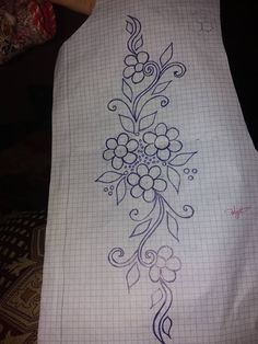 Discover thousands of images about Blue sketch Hand Embroidery Projects, Hand Embroidery Stitches, Vintage Embroidery, Ribbon Embroidery, Embroidery Art, Border Embroidery Designs, Floral Embroidery Patterns, Machine Embroidery Designs, Quilt Patterns