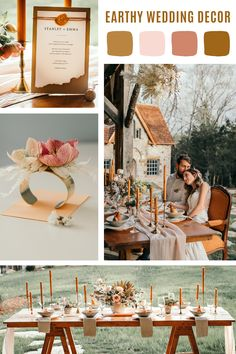 Earthy wedding decor with boho details and a warm color pallet. Check out how we created all the design elements for the perfect earthy wedding look. Marigold Wedding, Floral Wedding, Wedding Flowers, Wedding Dresses, Sedona Wedding, Sunset Wedding, Wedding Color Pallet, Wedding Color Schemes, Weding Colors