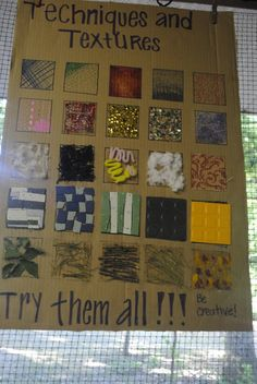 Texture touch board! Teaches real and implied texture. A great reference poster