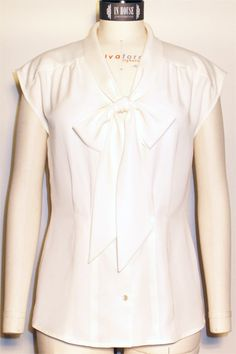 In-House Patterns Belle Bow Blouse   PDF Pattern, View A made with white fabric