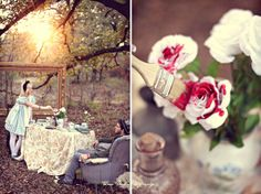 This couple had Alice in Wonderland themed engagement photos. I love Alice in Wonderland and am so jealous! The photos were done by Three Nails Photography in Shreveport, LA. Steam Punk, Wedding Fotos, Painting The Roses Red, Boho Vintage, Alice In Wonderland Tea Party, My Sun And Stars, Mad Hatter Tea, Mad Hatters, We Are The World