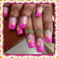 Ombre pink acrylic with sun yellow flower fimo clay slices nail art by Yen