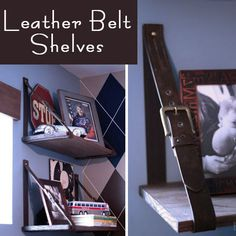 Using Mens' Belts to Create Hanging Shelves