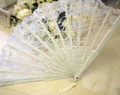 White lace fan.