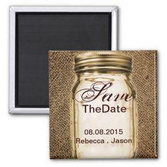 barnwood country mason jar wedding save the date magnet