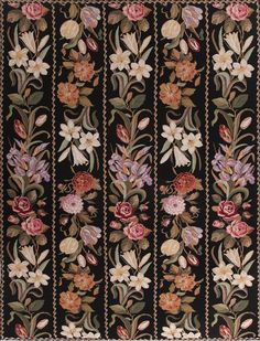 Garden Trellis Needlepoint Rug is handmade in the style of 19th century Berlin needlepoint patterns popular with needlepoint enthusiasts in England.