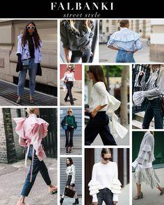 Trend falbanki - inspiracje stylizacje - street style Ruffle Blouse, Street Style, Outfits, Tops, Women, Fashion, Moda, Suits, Urban Style