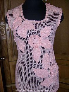Купить розовые цветы - ажурная кофточка, топ, летний топ, женская футболка, вязаная кофточка