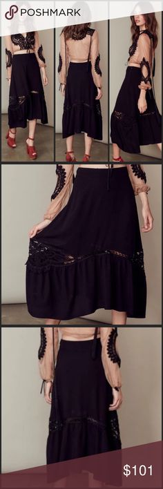 """For Love & Lemons Penelope Skirt Black Penelope skirt. This beautiful midi skirt by For Love and Lemons is made with a breezy rayon crepe fabrication in a flattering silhouette with its contoured waistband. Hidden zipper. Approx length 38"""". The hand placed crochet detailing makes this black skirt anything but basic. Perfect all year around. For Love and Lemons Skirts Midi"""