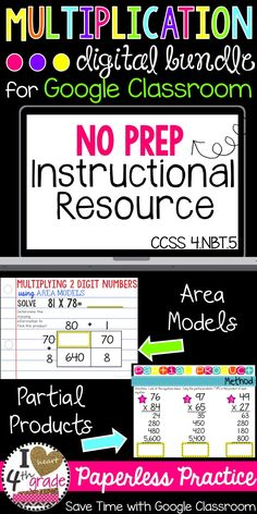 Multiplication Practice aligned to CCSS 4.NBT.5 for Multiplying with 2 digit factors.  Covers Multiplying with Area Models and Multiplying with Partial Products.  Paperless Practice to use with Google Classroom using Google Slides.  Great for 1:1 Classrooms, BYOD Classrooms, Google Classroom for Elementary, Google Classroom Ideas, and Paperless Classroom Activities.  Engage and Excite!