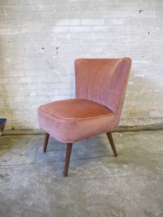 Fauteuil Pastoe stijl club fauteuiltje oud rose stoffen bekleding – Tussen Cor & Kitsch