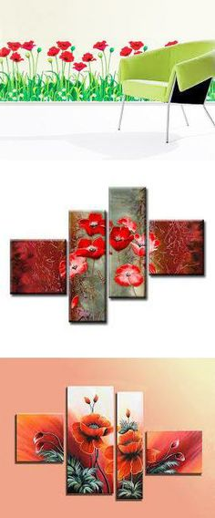 red poppies in interior decorating, wall decorations and accessories with red flowers