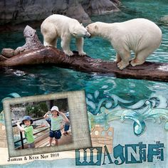 Magnificent Polar Bears Left Page - created with my Ocean Tones Value Collection by Robyn Gough at Digital Scrapbook Place