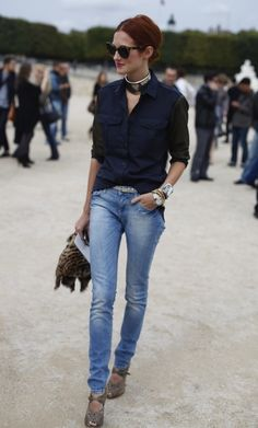 button down and jeans