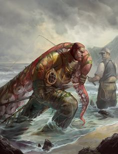 """theartofanimation: """" Julie Dillon """" And I see Bonelfoermos coming back onto land after getting a Kraken. (Haven't dealt with Krakens in Knights of Day but when I don't deal with something in one story that I've dealt with in another I just default to. Fantasy Art Men, Fantasy Kunst, Art And Illustration, Cthulhu, Le Kraken, Steampunk Kunst, Steampunk Accessoires, Frederic Remington, Motif Art Deco"""