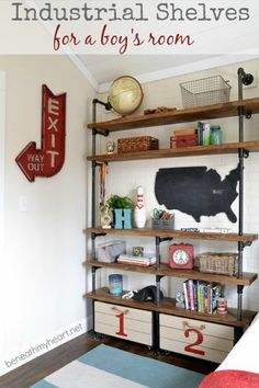 16 Favorite Industrial Pipe Furniture Projects shelves for the rec room! Industrial Pipe Shelves, Modern Industrial, Industrial Boys Rooms, Industrial Design, Pipe Shelving, Industrial Office, Vintage Industrial, Industrial Industry, Industrial Shop