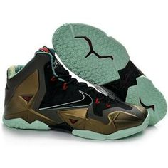 8334186c1a38 Nike Lebron 11 2013 Black Bronze Jade Running Shoes