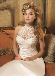 Lace White Satin Sheath Sweetheart High Neck Wedding Dress - - Fashion Trends and Bridal Dress Collection
