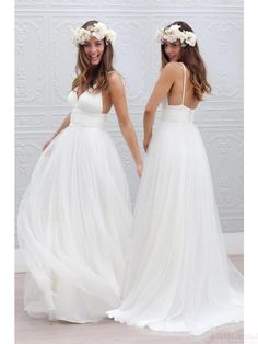 Simple Spaghetti Straps Long Chiffon Wedding Dresses Ball Gown #SIMIBridal #weddingdresses