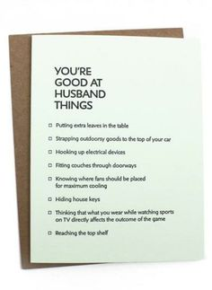 Let your husband know you appreciate all the husband-ish things he does! www.mooreaseal.com