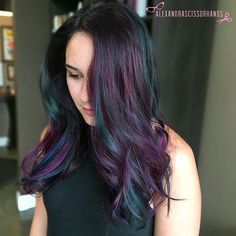 It's oil slick week!  I absolutely love doing multi-tones!  Used @colormebykm up to 7 lightener with 25vol and @Olaplex to lift, and used 4 concoctions of @Joico Intensity mixed with Olaplex step 2. Blue: Cobalt + Mermaid Green: Peacock + Yellow Purple: Amethyst + Indigo Pink: Soft Pink + Magenta  I've done two this last week inspired by my oil slick bob post. More photos of this and the other coming up soon!  #colormebykm #joico #olaplex #joicointensity #oilslickhair #oilslic...