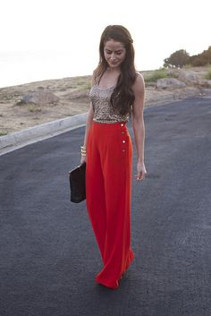 High-waisted red sailor pants