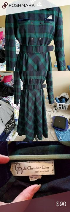 Christian Dior vintage wool plaid dress Genuine Christian Dior 80's does 40's plaid wool dress.  Great for Christmas! Excellent condition. Has pockets. Tag says size 14. Measurements laying flat: 20 inches armpit to armpit, 14 inch waist (has some stretch), waist to hem is 30 inches. Christian Dior Dresses Long Sleeve