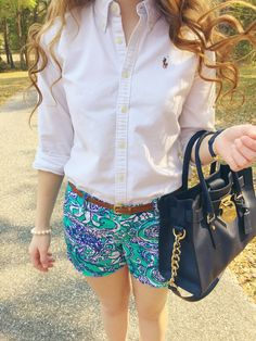 "navyornothing: ""OOTD Ralph Lauren Button Up Lilly Pulitzer Montauk Callahan Shorts KJP Pearl Bracelet Michael Kors Bag """