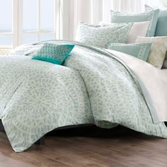Echo Bedding, Mykonos Comforter and Duvet Cover Sets - Bedding Collections - Bed & Bath - Macy's Mykonos, Echo Bedding, Queen Comforter Sets, Aqua Comforter, Queen Duvet, King Duvet, Cotton Bedding, Cozy Bedroom, Bedrooms