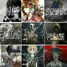 We are simply fading away, please don't forget us, sad, text, Laughing Jack, Homicidal Liu, Eyeless Jack, Ticci Toby, Masky, Hoodie, Jeff the Killer, Ben Drowned, Lost Silver; Creepypasta
