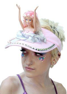 be4e581c591 Mermaid Doll Parts Shell Fin Diamante  Baby Pink Gold Festival Sun Visor Hat  Sonnenblende Hut