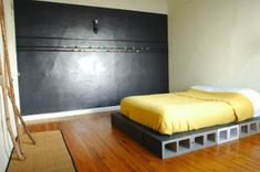 DIY: Concrete Bed ...Tods room w black chalkboard walll?
