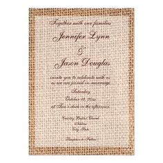 Rustic Country Burlap Wedding Invitations from Zazzle.com