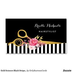 Hair stylist beauty salon gold vintage floral business card salon gold scissors black stripes pink floral hair salon double sided standard business cards pack of 100 colourmoves