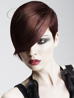 100% Human Hair Glamour Short Smooth Straight Dark Auburn Fairy Wig Makes You Outstanding : wigsbuy.com