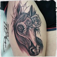 Sugar skull horse done by Ryan @rclarktattoo #tattoo #tattoos…