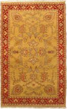 Fine hand-knotted Indian rugs with strong Persian influenced designs.   - Field Color: Light Gold   - Border Color: Cream, Dark Brown, Khaki, Light Blue, Light Gold, Red   - Knots Per Square Inch: 90