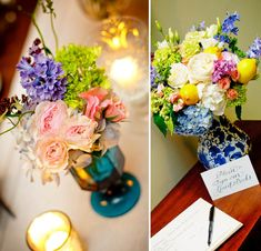 love the color palette of the bouquet...and i always love blue and white vases