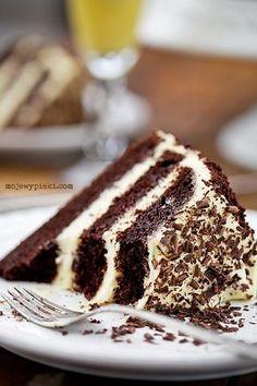 Tort czekoladowo - ajerkoniakowy z kawą Chocolate Torte, Chocolate Coffee, Cookie Desserts, Dessert Recipes, Custard Cake, Gingerbread Cake, Coffee Cake, Eggnog Coffee, Lava Cakes