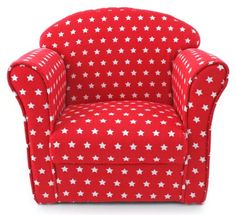 Kids Childrens Red with White Stars Fabric Tub Chair Armchair Sofa Seat Stool Kids Sofa Chair, Kids Armchair, White Armchair, Sectional Sofa With Recliner, Sofa Seats, Tub Chair, Sofas, Boy Toddler Bedroom, Toddler Chair