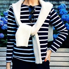Sailor stripes and cashmere cableknit.