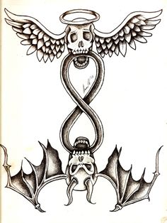 This is a redesign of a tattoo I drew in 2005, using skulls, the aspects of good and evil, and infinity. #skulls #artwork #good #evil #angel #devil #tattoo #design