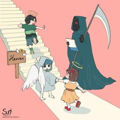 Daily life of Grim Reaper Anime Crying, Sad Anime, Anime Art, Dark Art Illustrations, Illustration Art, Dessin Old School, Sun Projects, Sad Drawings, Vent Art