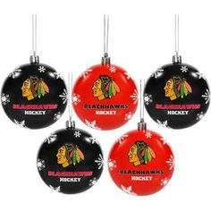 Forever Collectibles 2016 NHL 5-Pack Shatterproof Ball Ornaments, Chicago Blackhawks, Multicolor