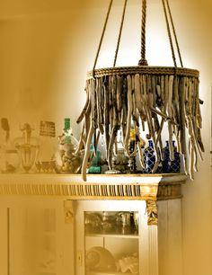 Driftwood Hanging Light Chandelier, Coastal Chic Lamp, Rope Lamp, Hanging Light, Sunburst Lamp.