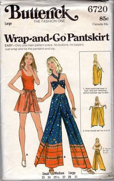 Halter Pantskirt Scarf Top. Wrapped pantsuit, mini or evening length, has elasticized front casing which fastens in back, and draw string back casing which ties in front. With or without ribbon trim. Wrapped scarf halter or purchased top. Easy- Only one main pattern piece. No buttons, no