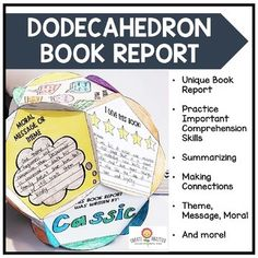 Dodecahedron Book Report by Create-Abilities Project Based Learning, Student Learning, Book Report Projects, Quick Print, Education Humor, Elementary Education, Upper Elementary, Book Report Templates, Authors Purpose