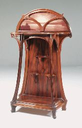 Glazed Mahogany and cameo glass Vitrine  BY JACQUES GRUBER, CIRCA 1900
