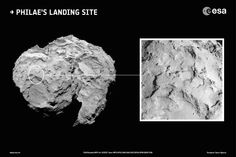 """Philae's primary landing site in context. The European Space Agency's Rosetta mission has chosen the primary and backup cometary landing sites for its November landing attempt. Image depicts the primary landing site on comet 67P/Churyumov-Gerasimenko. (Credit: ESA/Rosetta/MPS for OSIRIS Team MPS/UPD/LAM/IAA/SSO/INTA/UPM/DASP/IDA) Mona Evans, """"Rosetta the Comet Chaser"""" http://www.bellaonline.com/articles/art182574.asp"""